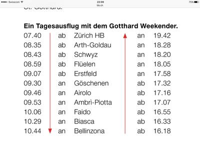Gotthard Weekender: Achtung: Fahrplan 2017!