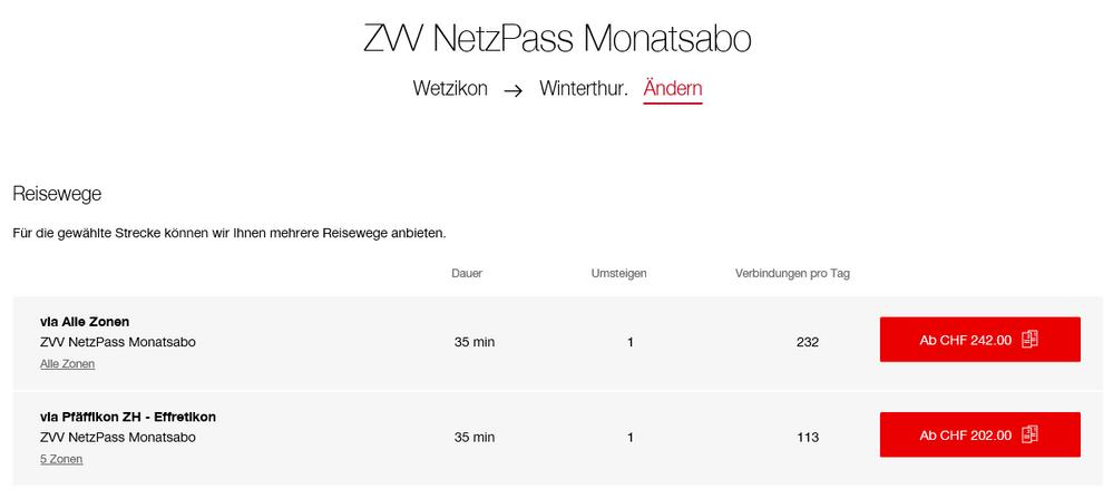 Preisabfrage für ZVV NetzPass Monatsabo im SBB Webshop.