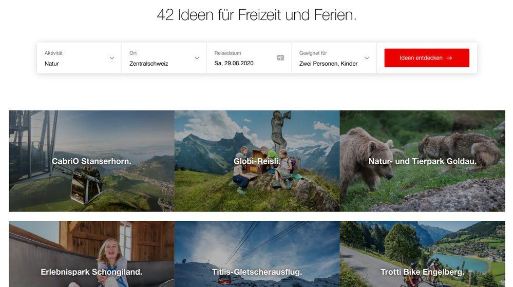 Beispielsuche im Freizeitideen-Finder auf SBB.ch