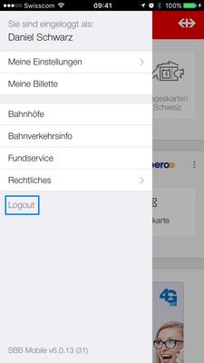 Abmelden (Logout) in SBB Mobile
