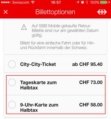 Tageskarte und 9-Uhr-Karte zum Halbtax (unter Billettoptionen bei längeren Strecken auswählbar.)