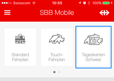 Kachel «Tageskarten Schweiz» in der App SBB Mobile.